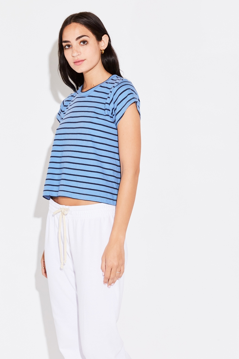 the lady  & the sailor SHRUNKEN BF TEE IN SHORE BLUE STRIPE Tops