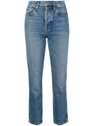 RE/DONE Re/Done - Medium Wash Slim-Fit Cropped Jeans