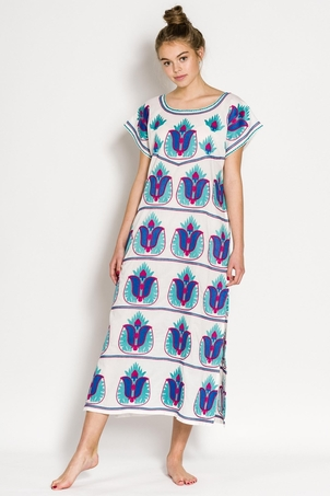Nimo With Love Nimo With Love Flaming Volcano Kaftan- Turquoise Dresses