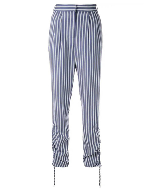 Tibi Tibi Stripe Viscose Twill Shirred Pant Pants
