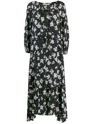 Dorothee Schumacher Black & Blue Print Crepe De Chine Midi Dress Dresses