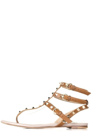 Valentino Valentino Tan Rockstud Sandals 37 Shoes