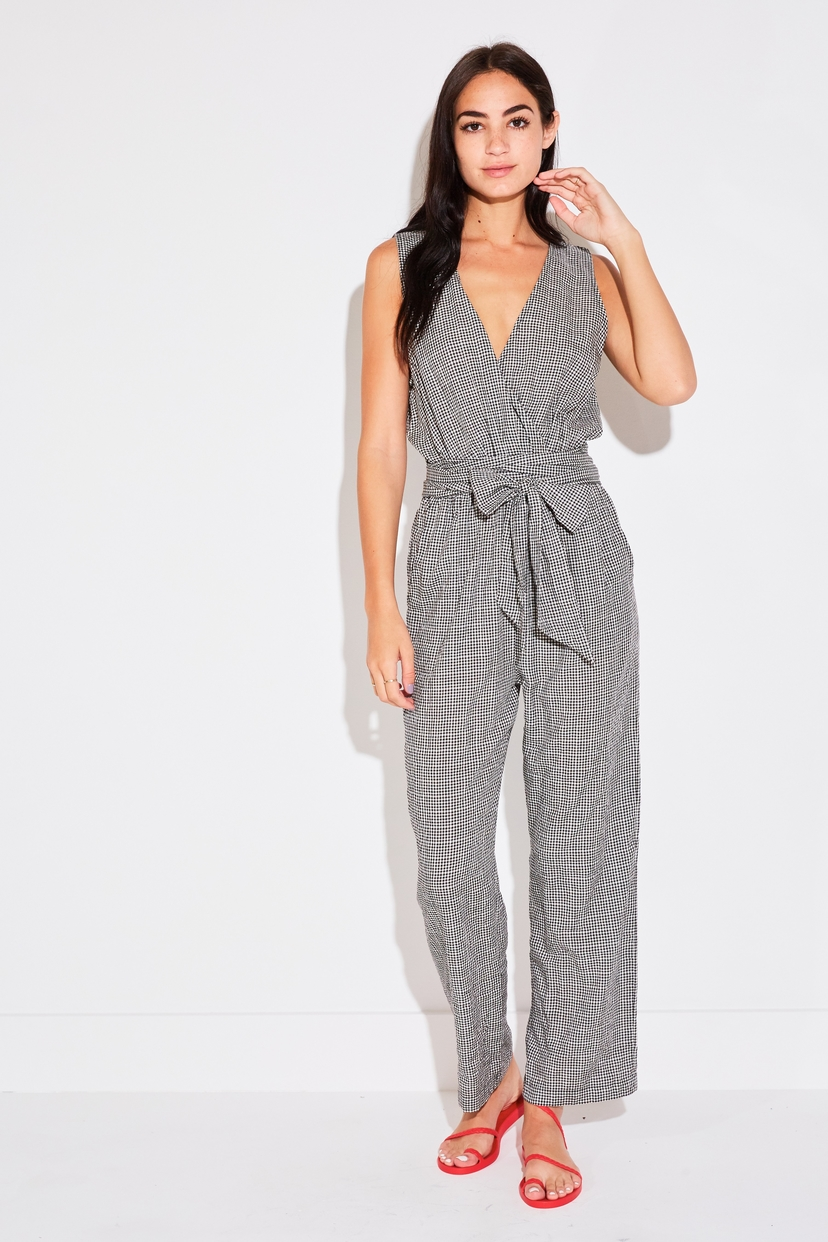 the lady  & the sailor BELTED JUMPSUIT IN BLACK GINGHAM Jumpsuits / Rompers