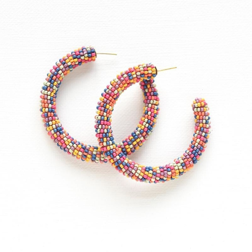 Ink+Alloy Multi Color Seed Bead Hoops Jewelry