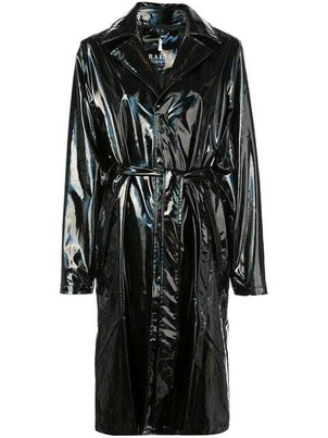 Rains Rains - Long Holographic Belted Trench Coat BLK Outerwear