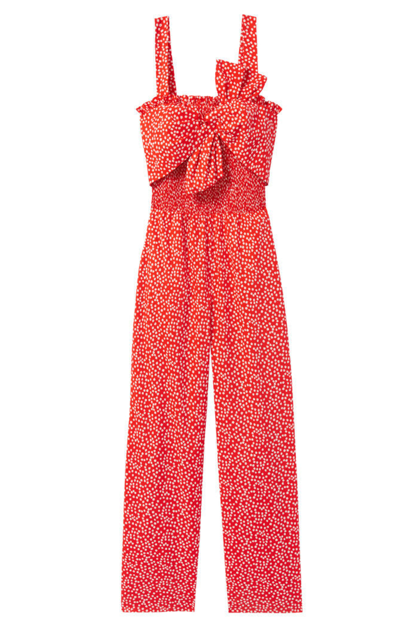 Rebecca Taylor Malia Floral Bow Smocked Jumpsuit Sale