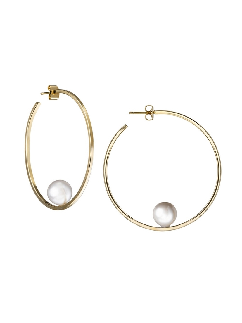 Janis Savitt Janis Savitt White Pearl Hoop Earrings - Yellow Gold Jewelry