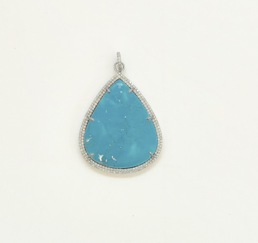 The Woods Fine Jewelry Silver and Blue Howlite Pendant Jewelry