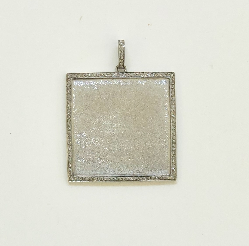 The Woods Fine Jewelry Sanded Silver Square Pendant Jewelry
