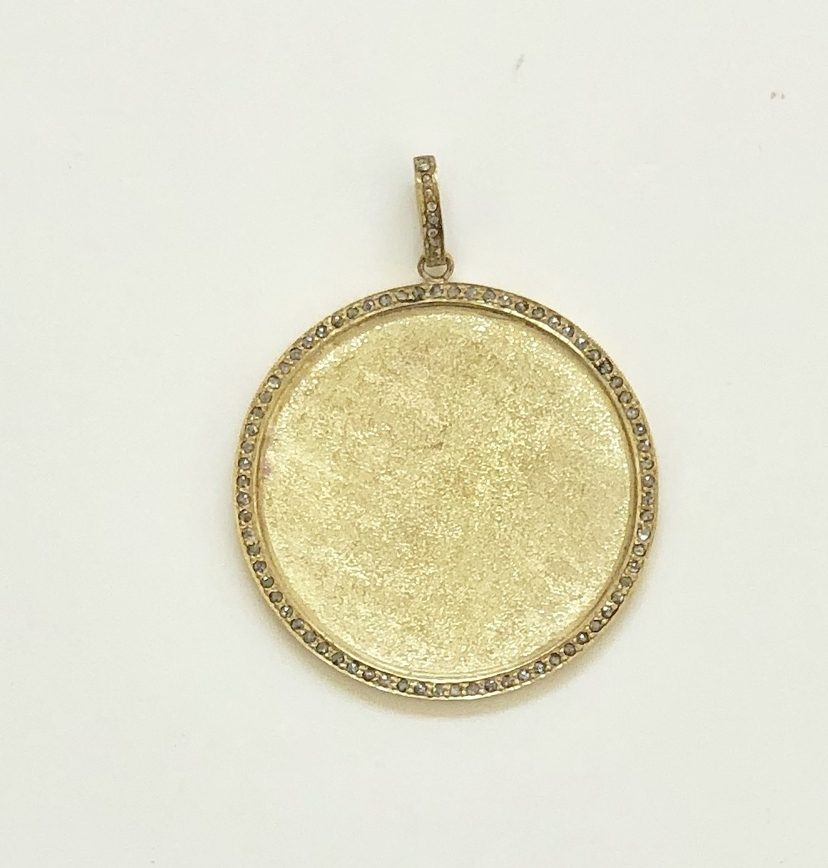 The Woods Fine Jewelry Sanded Brass Circle Pendant Jewelry