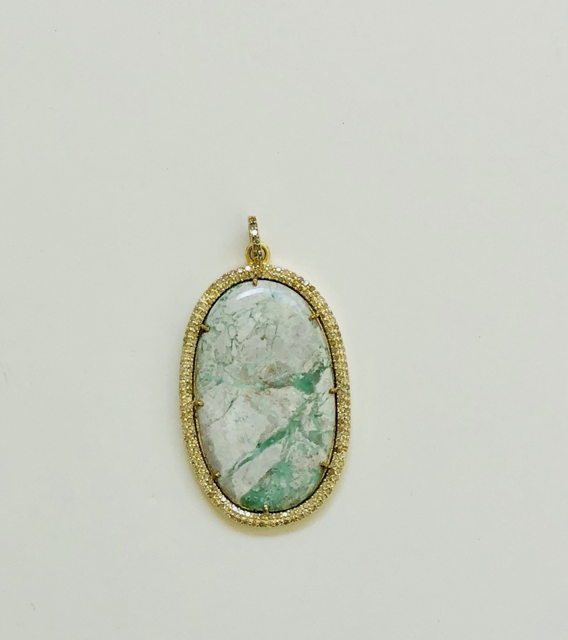 The Woods Fine Jewelry Turquoise and Brass Pendant Jewelry