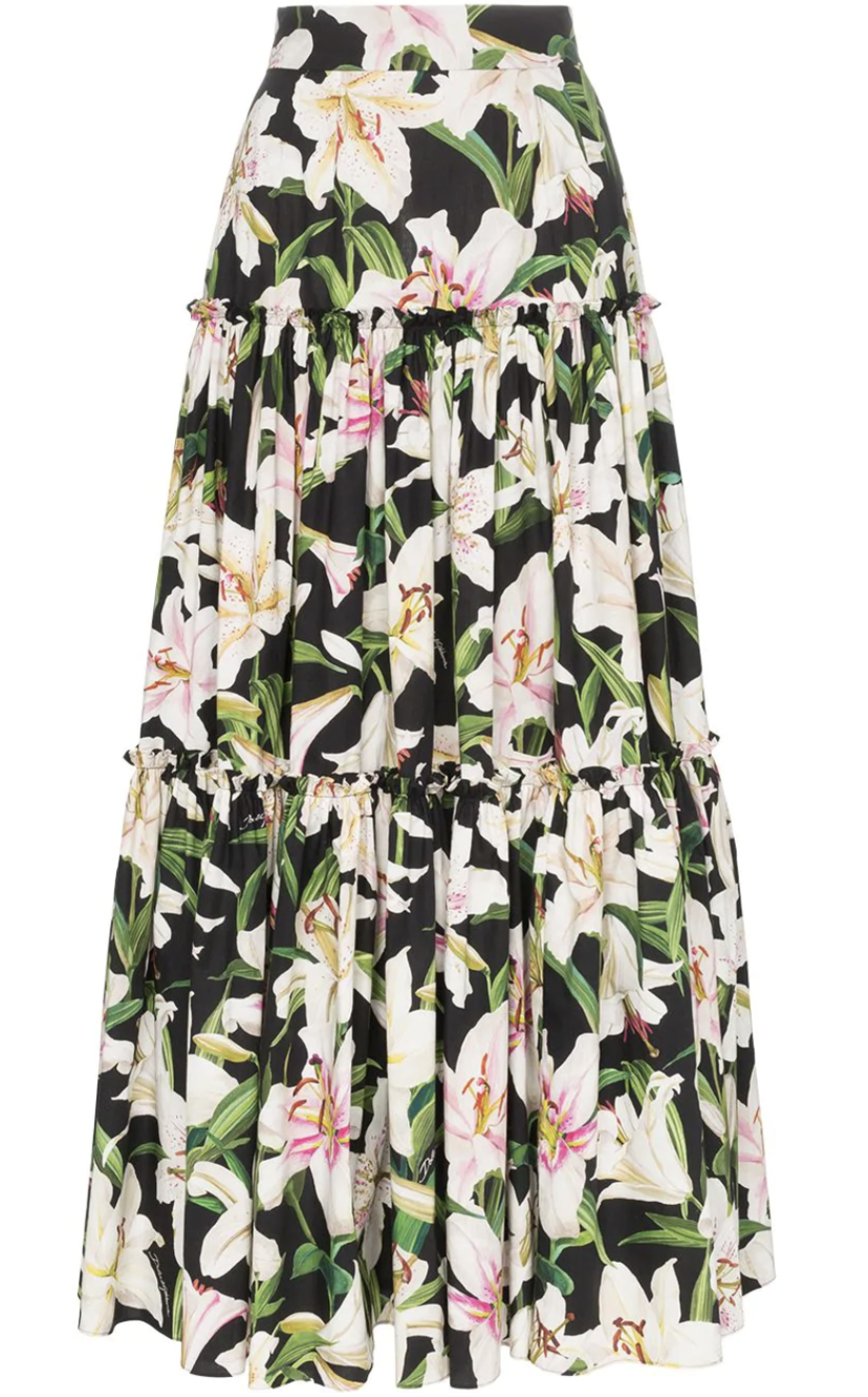Dolce & Gabbana Floral Tiered Maxi Skirt Skirts