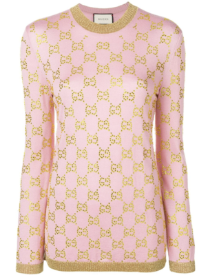 Gucci Pink Sweater with Swarovski Crystal Embellishments