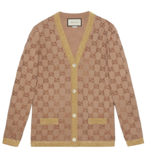 Gucci Tan Cardigan with Swarovski Crystal Embellishments