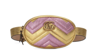 Gucci Pink and Gold Metallic Chevron Belt Bag Bags