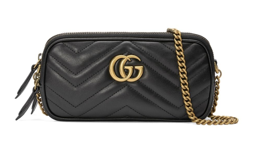 Gucci Black Leather Chevron GG Bag Bags