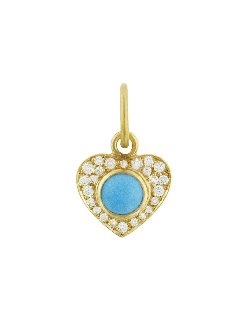 Irene Neuwirth Irene Neuwirth Turquoise Pavé Diamond Heart Charm - Yellow Gold Jewelry