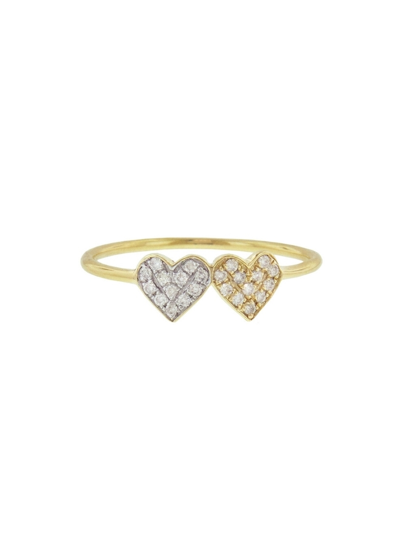 Sydney Evan Sydney Evan Small Diamond Double Heart Ring Jewelry