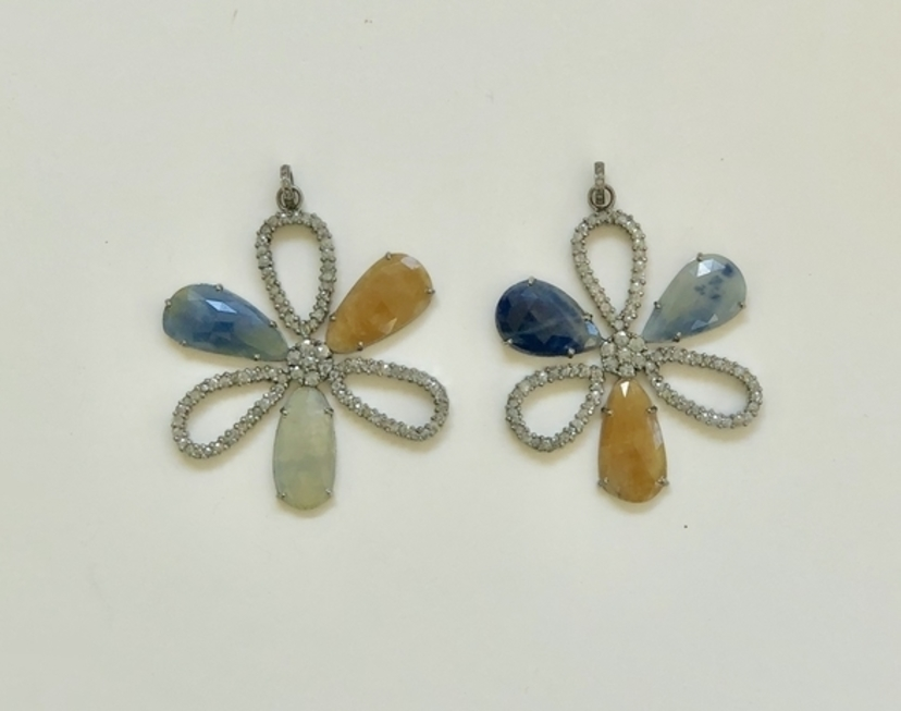 The Woods Fine Jewelry Sapphire and Diamond Flower Pendant Jewelry