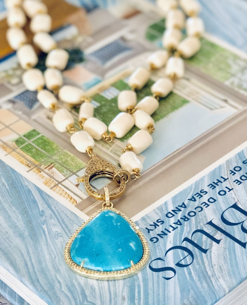 The Woods Fine Jewelry Brass and Blue Howlite Pendant Jewelry