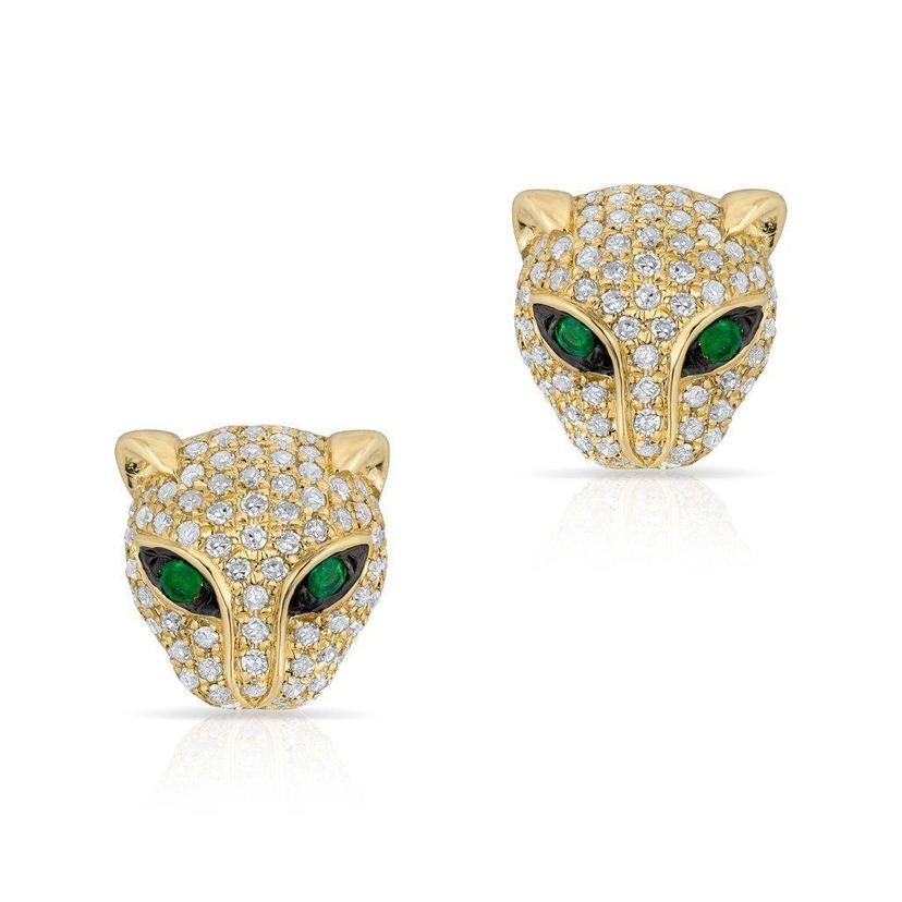 Anne Sisteron 14KT Yellow Gold Diamond Emerald Jaguar Stud Earrings Jewelry