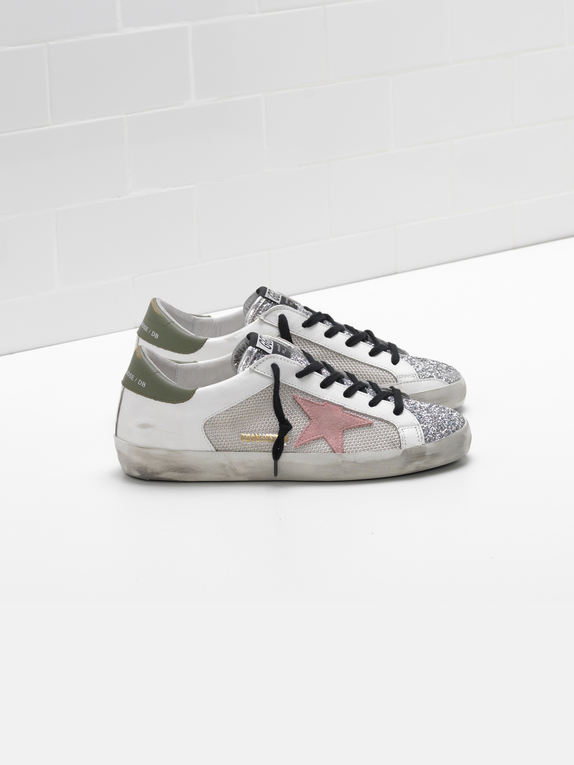 Golden Goose Deluxe Brand White Grey Silver Glitter Superstar Sneakers Shoes