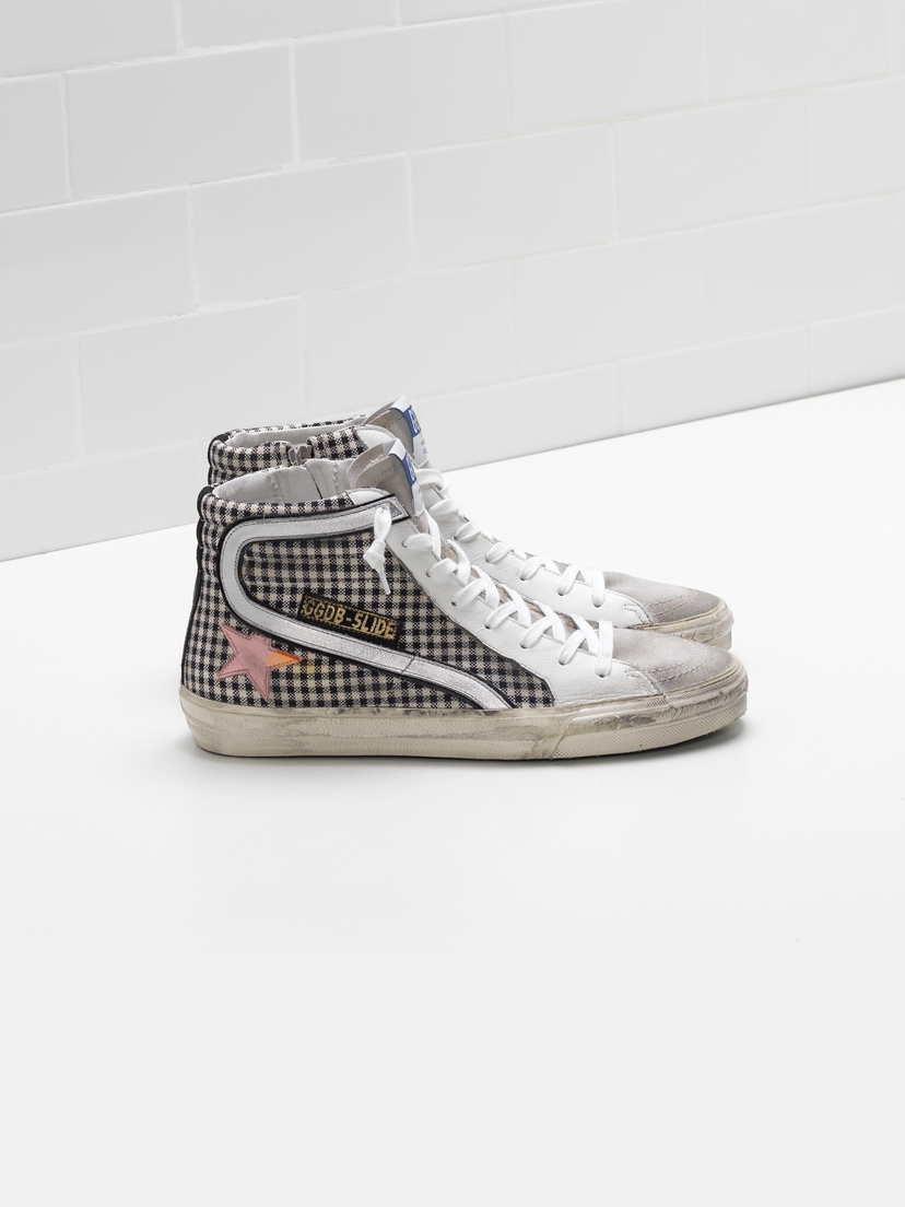 Golden Goose Deluxe Brand Golden Goose Slide Sneakers White Check- Pink Star Shoes