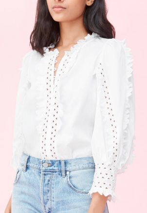 Rebecca Taylor Petal Embroidered Top Tops