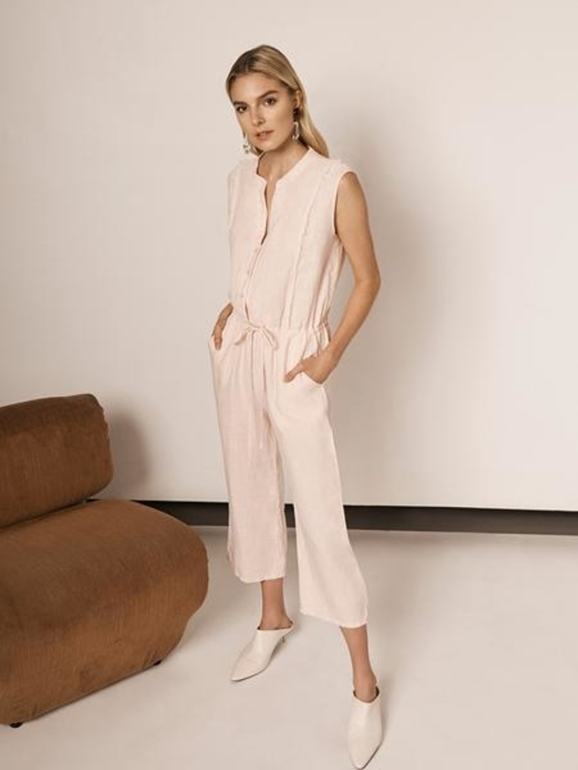 Krisa Button Front Cropped Jumpsuit Jumpsuits / Rompers