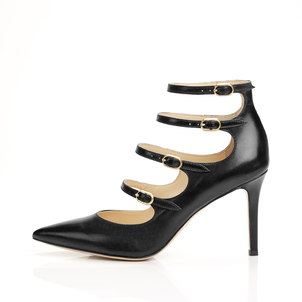 Marion Parke Mitchell - Leather Strappy Mary Jane Stiletto Pump Shoes