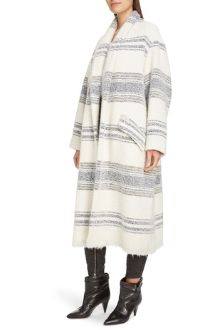 Isabel Marant Faby Striped Wool Blend Coat Outerwear