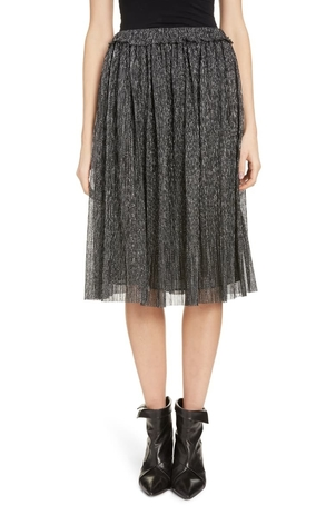 Isabel Marant Beatrice Pleated Lame A-line Skirt Skirts