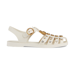 Gucci White Rubber Embellished Jelly Sandals Shoes