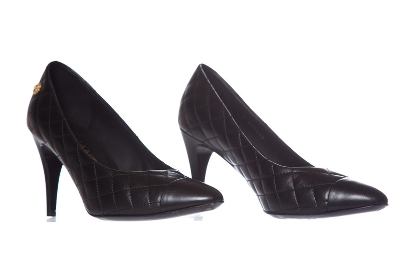 Chanel Chanel Black Quilted Leather Pumps SZ 36.5 Shoes