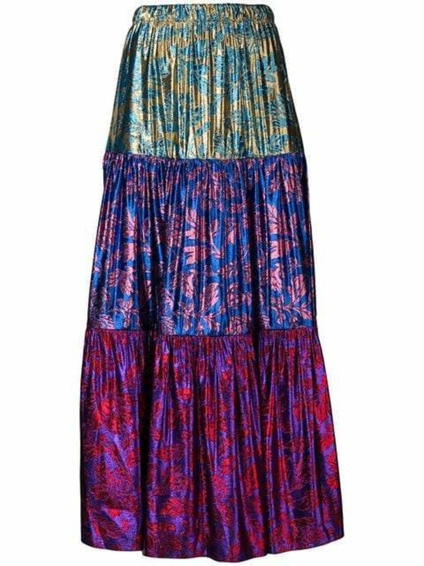 Gucci High Waisted Tiered Lurex Midi Skirt Skirts