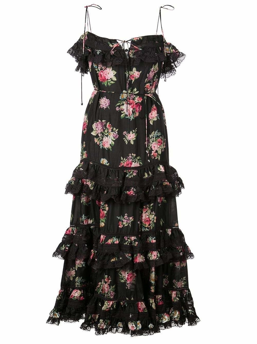 Zimmermann Honour Tier Spaghetti Strap Floral Dress Dresses