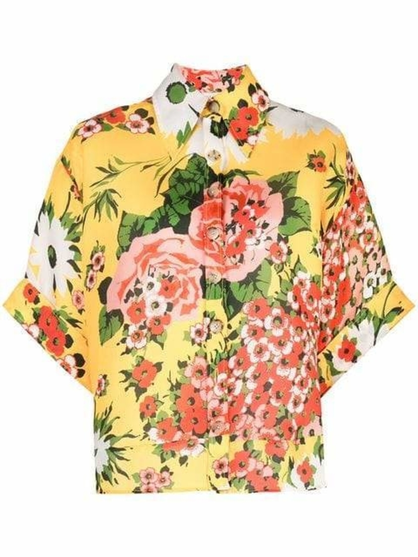 Carolina Herrera Oversized Floral Top Sale Tops