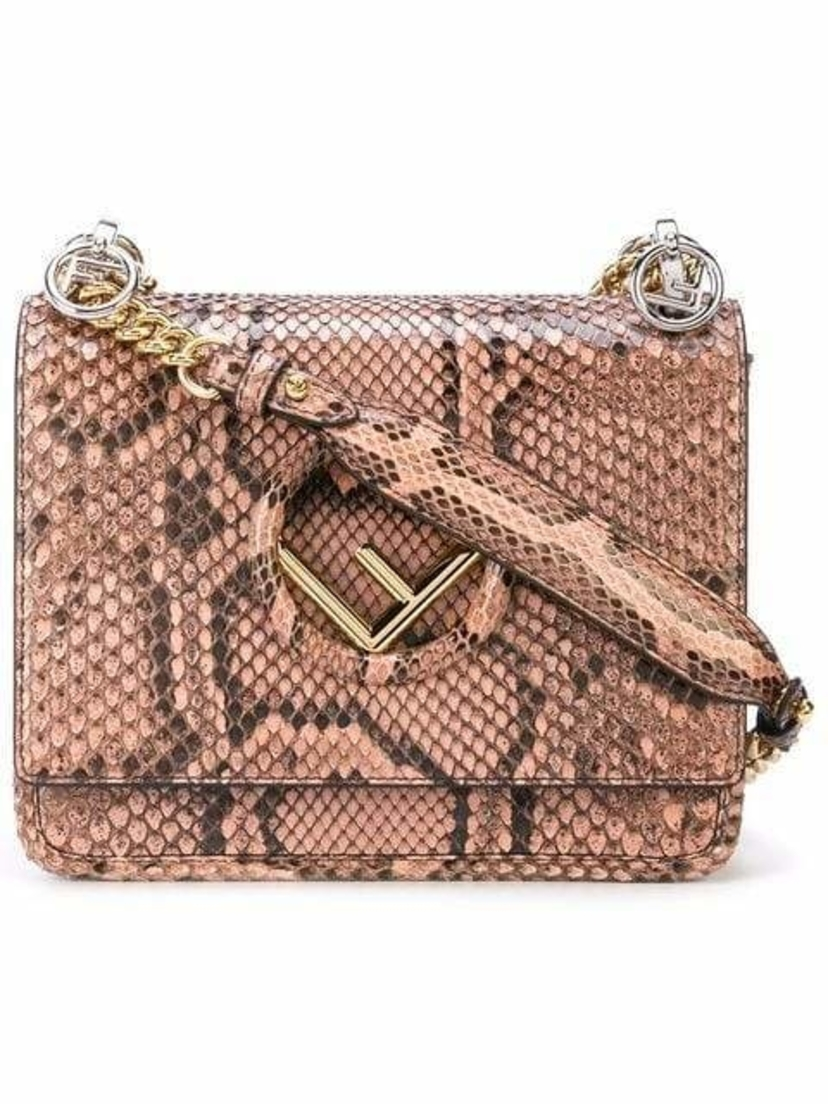 Fendi F Logo Kan I Small Python Shoulder Bag Bags