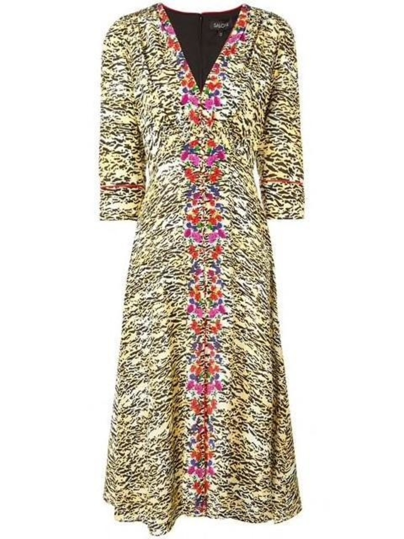 Saloni Eve Tiger Print Midi Dress Dresses Sale