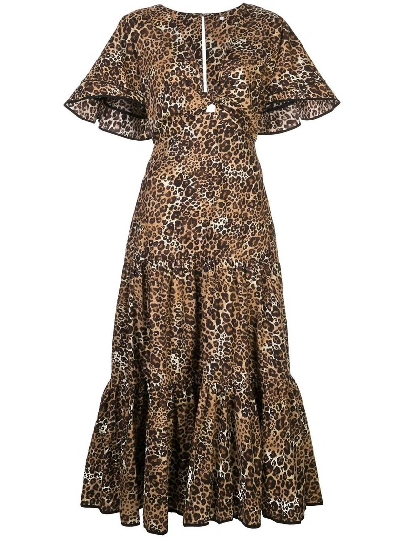 Johanna Ortiz Animal Jewel A-Line Leopard Print Midi Dress Dresses