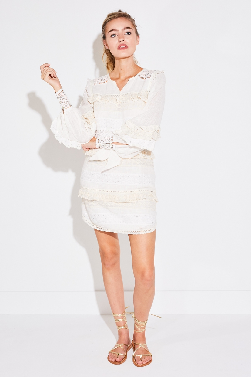 SPELL & THE GYPSY COLLECTIVE SUKI MINI PARTY DRESS IN WHITE Dresses