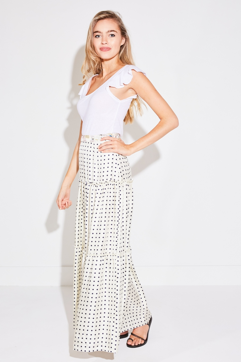 La Prestic Ouiston ELISABETH TIER SKIRT IN POIS ECRU PRINT Skirts