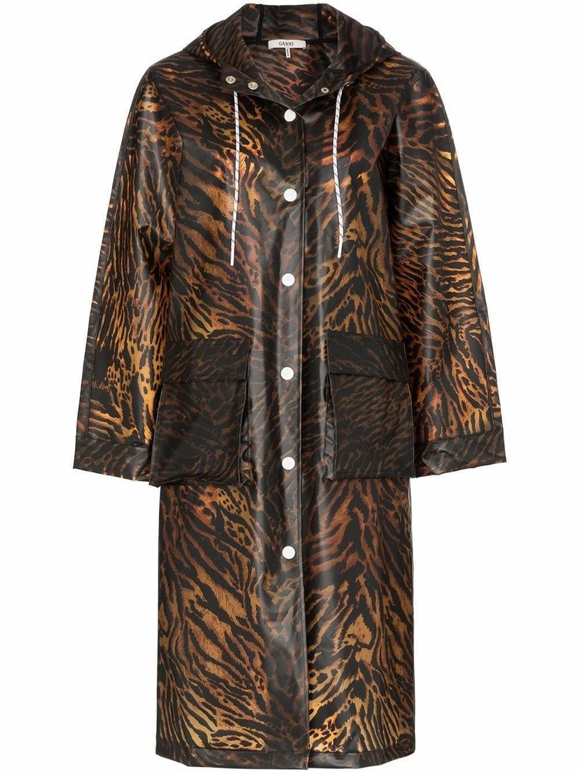 Ganni Tiger Print Raincoat Outerwear
