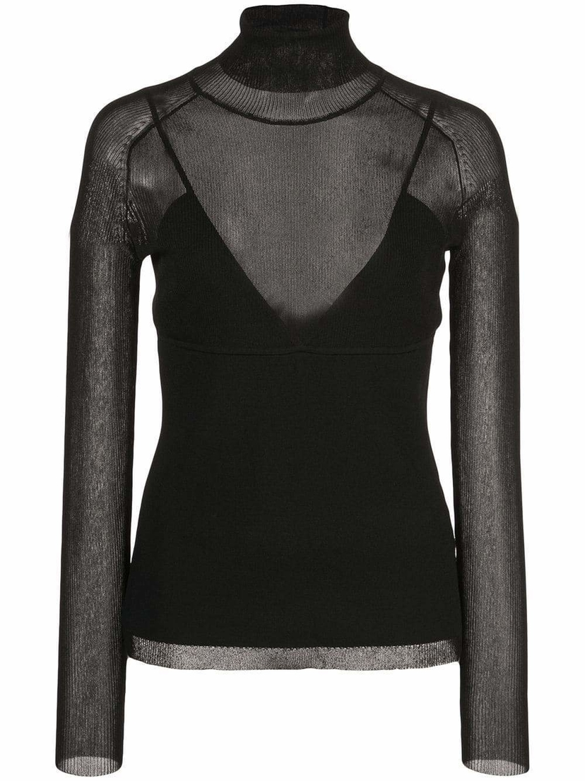Proenza Schouler Ribbed Turtleneck with Sheer Paneling Sale Tops