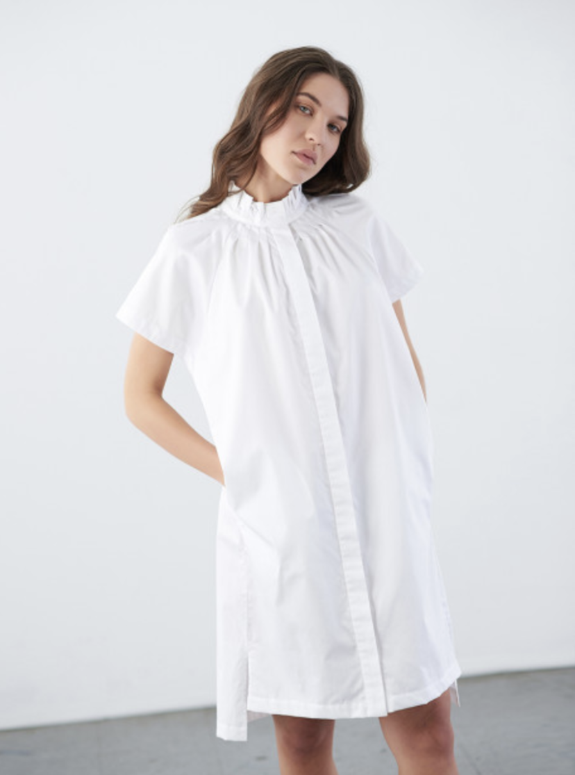 Zero Maria Cornejo Zero Maria Cornejo Pintuck Day Dress White Pepper Dresses