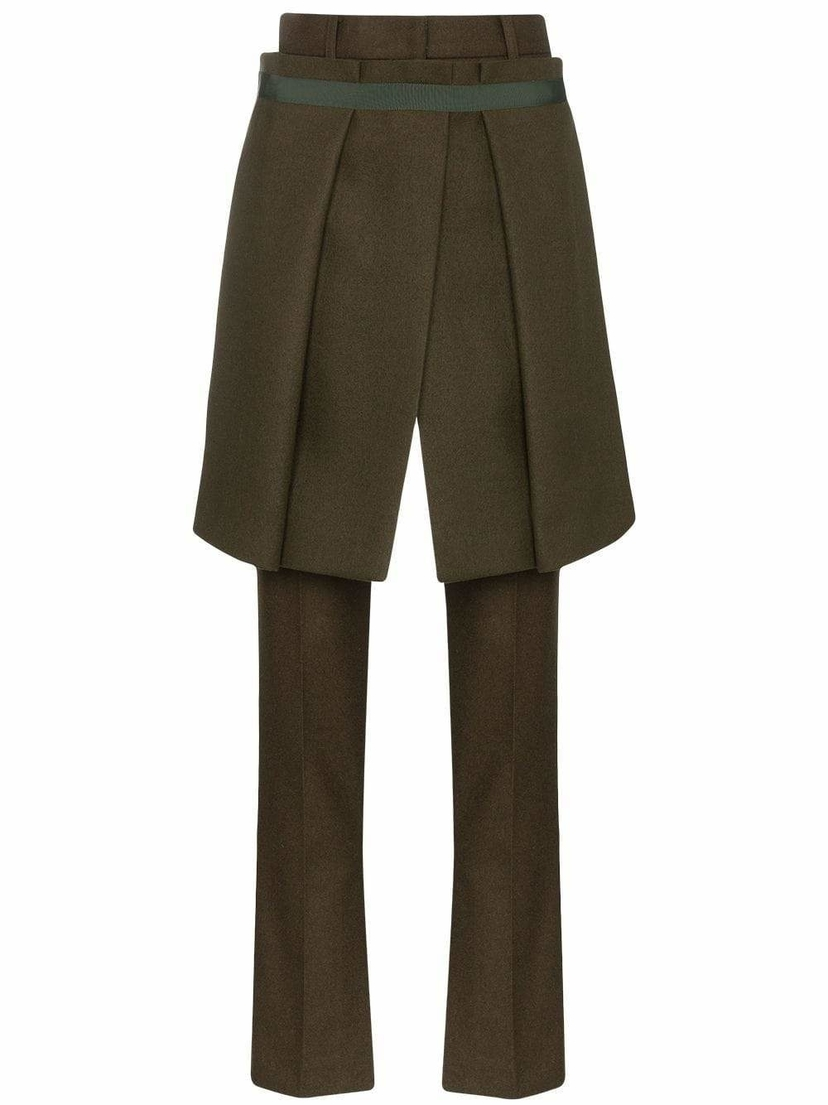 Sacai Melton Split Hem Long Pants with Front Skirt Pants