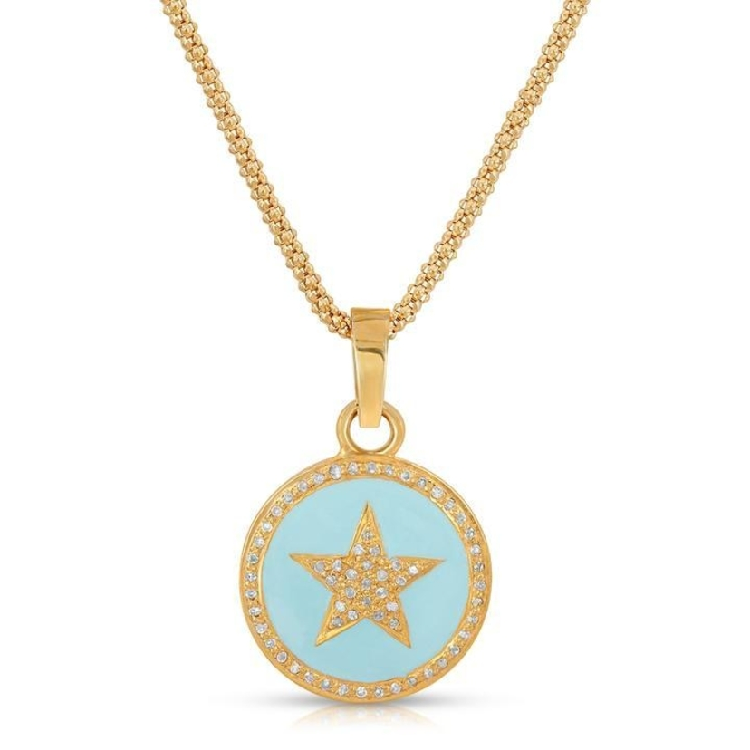 Joy Dravecky Enamel Star Necklace Gold Jewelry