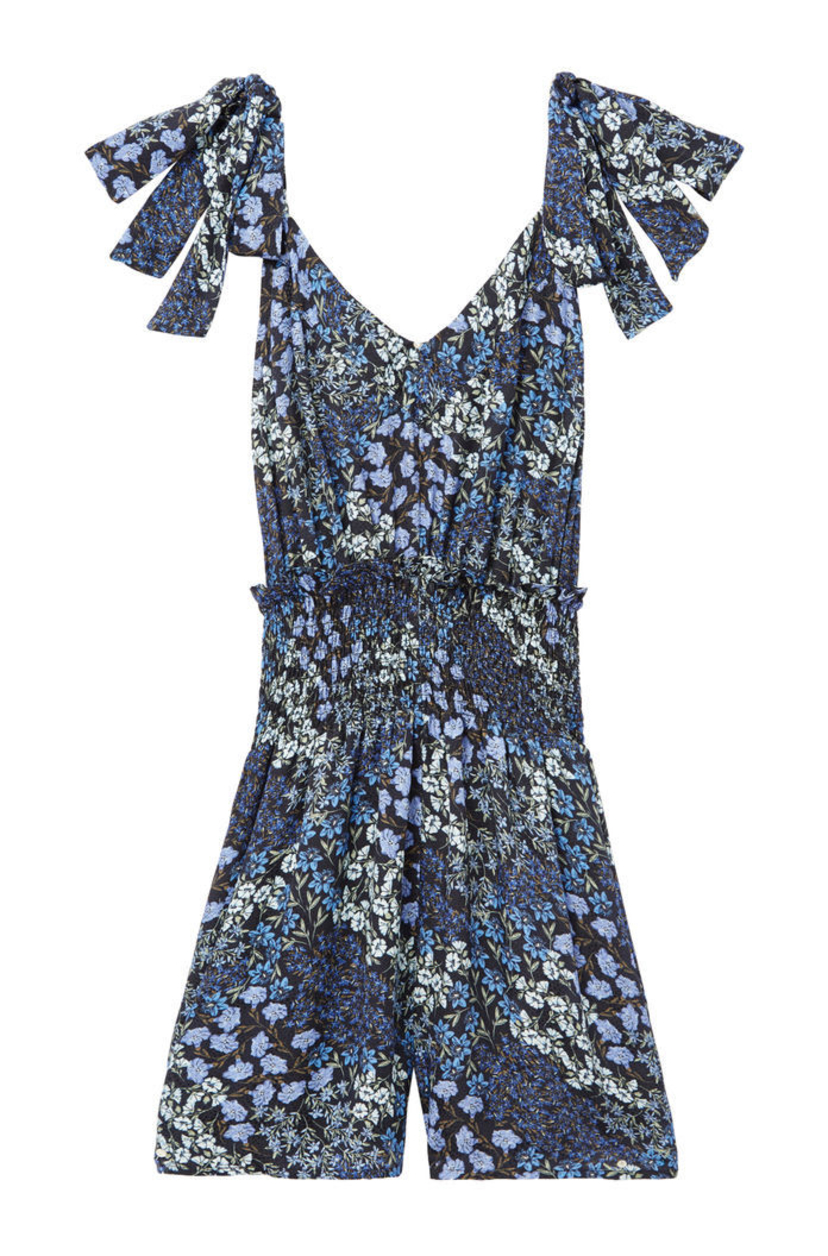 Rebecca Taylor Ava Floral Smocked Romper Jumpsuits / Rompers