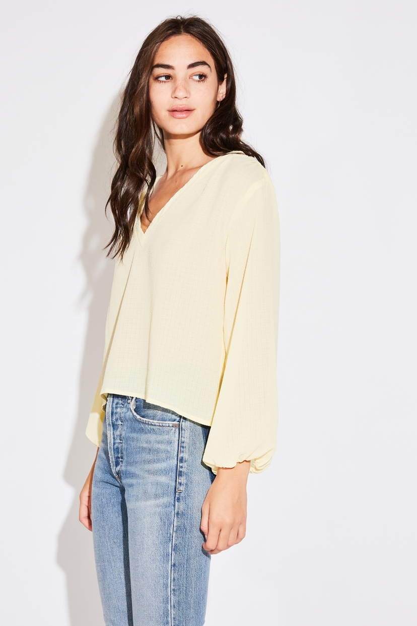 the lady  & the sailor L/S BILLOW BLOUSE IN PALE YELLOW FRENCH WOVEN