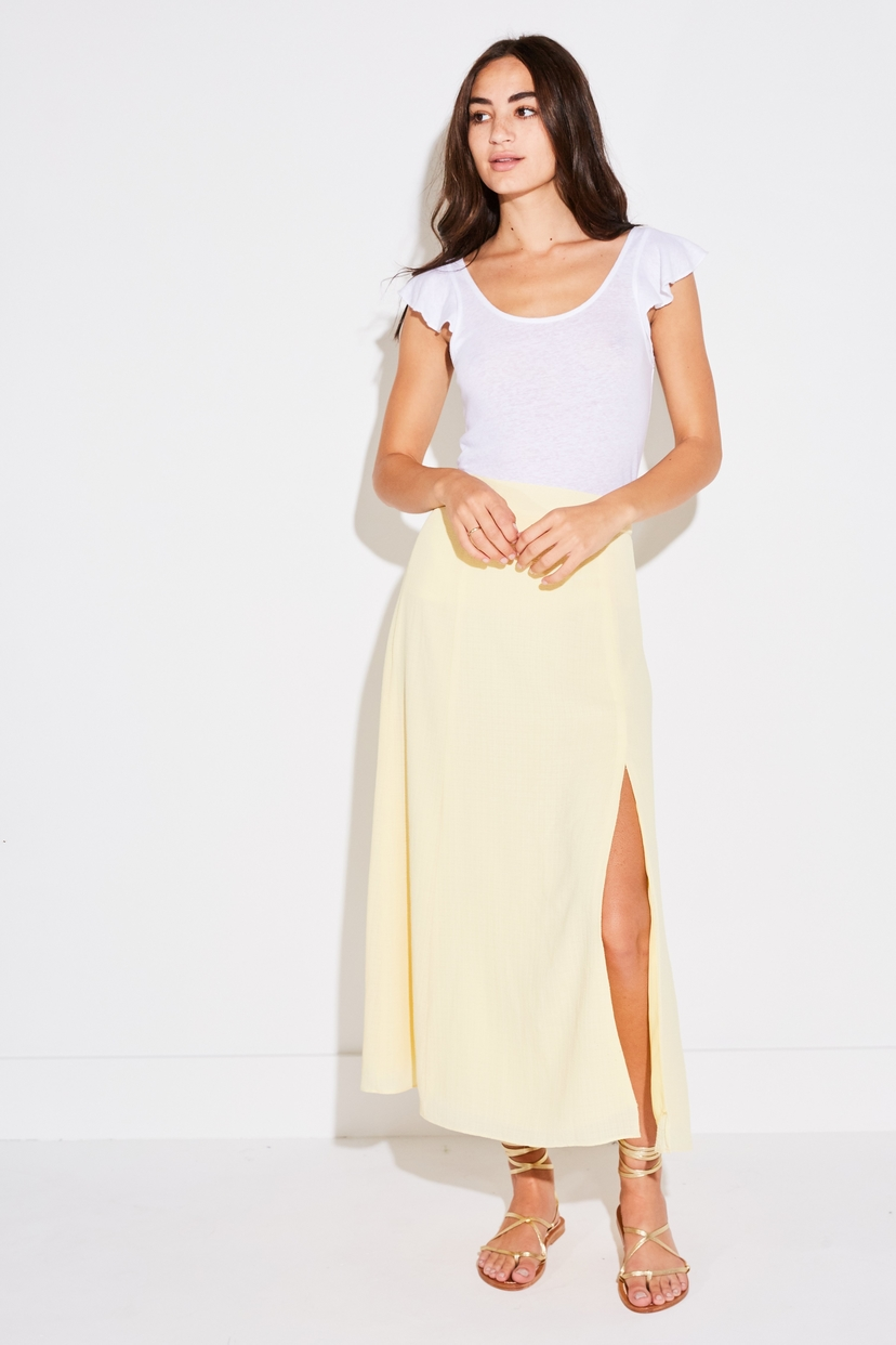 the lady  & the sailor PANEL SKIRT IN PALE YELLOW FRENCH WOVEN Skirts